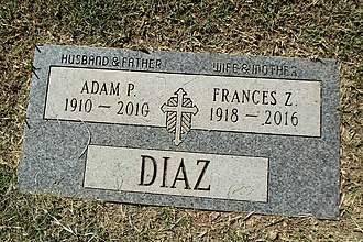 Adam Perez Diaz - Grave of Adam Perez Diaz and Frances Z. Diaz