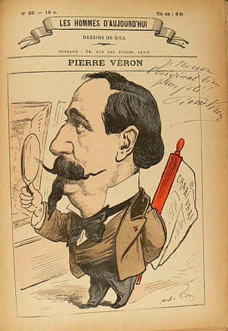 "Pierre Véron (writer) - Caricature of Pierre Véron by André Gill with Véron's autographed comment: ""I find the original much more handsome."""