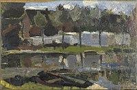 Piet Mondriaan - Narrow farm building and trees along the water - 0334272 - Kunstmuseum Den Haag.jpg