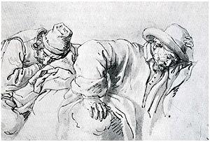 Pieter van Lint - Sleeping travellers