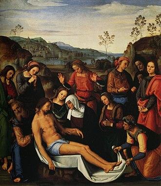 Lamentation over the Dead Christ (Perugino) - Image: Pietro Perugino cat 40