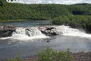 Kautokeino - Pikefossen waterfall in the Alta-Kautokeino river, Kautokeino municipality.