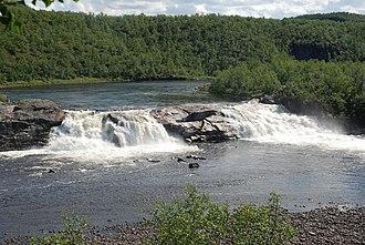 Kautokeino - Pikefossen waterfall in the Alta-Kautokeino river, Kautokeino municipality.
