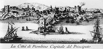 Incisione raffigurante Piombino Principato, XVII secolo. Si noti la Rocchetta sul promontorio che diverrà piazza Bovio