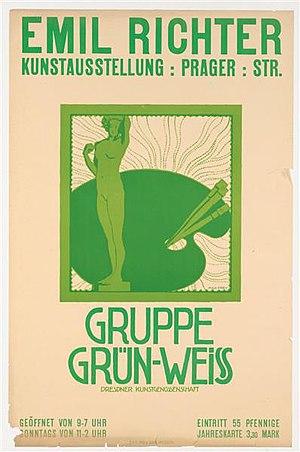Max Frey - Image: Plakat Emil Richter Kunstausstellung Gruppe Gruen Weiss, 1910