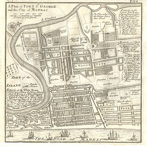 History of Chennai - Plan of Fort St George and the city of Madras in 1726,Shows b.Jews Burying Place Jewish Cemetery Chennai, Four Brothers Garden and Bartolomeo Rodrigues Tomb
