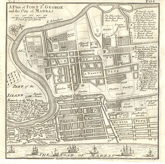 Cochin Jews - Plan of Fort St George and the city of Madras in 1726; shows (b) Jews Burying Place, Four Brothers Garden and Bartolomeo Rodrigues Tomb