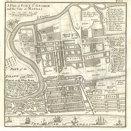 "Plan of Fort St George and the city of Madras in 1726,Shows the ""Jews Burying Place"" (marked as ""b.""), the ""Jewish Cemetery Chennai"", Four Brothers Garden and Bartolomeo Rodrigues Tomb Plan of Fort St George and the City of Madras 1726.jpg"