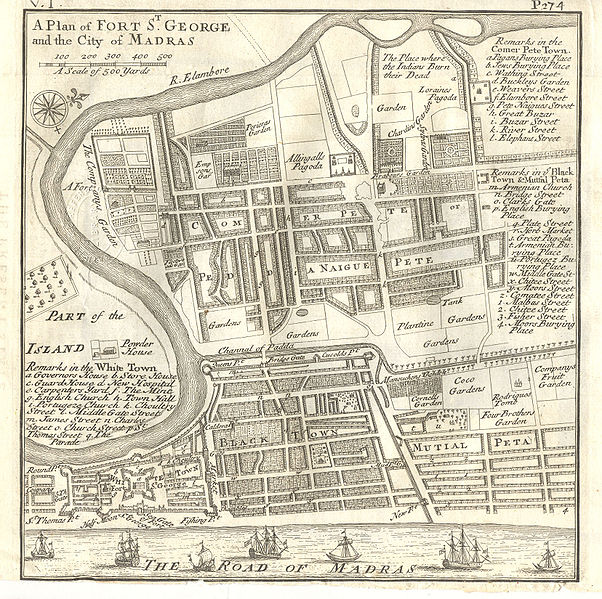 File:Plan of Fort St George and the City of Madras 1726.jpg