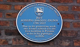 Preston, Lancashire - Plaque in Fox Street commemorating the work of Reverend Joseph Dunn in bringing gas lighting to the town
