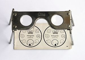 Stereoscope - Old Zeiss pocket stereoscope with original test image