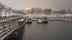 William G. Milliken State Park and Harbor - Patrol boats in their boat-wells at Milliken State Park (Tri-Centennial State Park). These were the last boats in the marina during a mid-December snow storm.