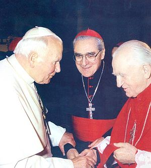 Jean-Marie Lustiger - Lustiger with Pope John Paul II in Bosnia, 1997; Cardinal Franjo Kuharić on right