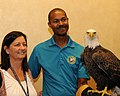 Posing for picture with Bald Eagle. (10595504853).jpg