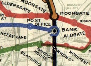 St. Paul's tube station - Post Office station on a 1908 Tube map, on the blue Central London Railway line.