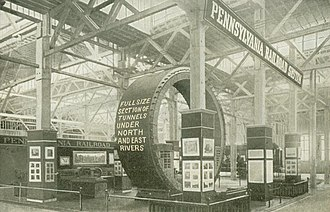 North River Tunnels - 1907 exposition display showing cross-section of North and East River railroad tunnels