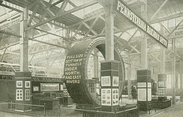 Exposition display showing cross-section of East River railroad tunnel to Pennsylvania Station PostcardJamestownPennaRailroadSystemAtJamestownExpo1907.jpg