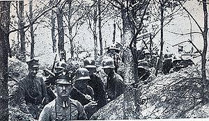 Greater Poland uprising (1918–1919) - Polish soldiers in trenches on the Polish-German front,  January 1919