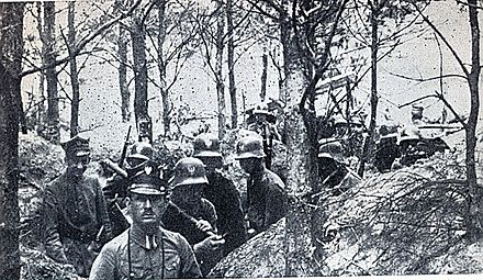 The Greater Poland Uprising, a war with Germany, erupted in December 1918 Powstanie wielkopolskie 1919.jpg