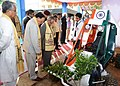 Pranab Mukherjee visiting the Innovators' Exhibition, at the 5th convocation of National Institute of Technology, at Agartala, in Tripura. The Governor, Tripura, Shri Devanand Konwar and the Chief Minister of Tripura.jpg