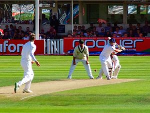 Switch hit -  Kevin Pietersen about to play a switch hit during a Test against South Africa in 2008. Note how despite being a right-handed batsmen, he has assumed the grip and stance of a left-handed batsman.