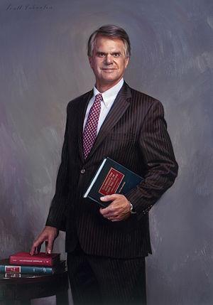 David W. Burcham - President David W. Burcham's official portrait for Loyola Marymount University was painted by Scott Wallace Johnston