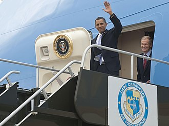 Space policy of the Barack Obama administration - President Obama and Senator Bill Nelson arrive at the Shuttle Landing Facility.
