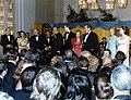 President Richard Nixon addressing the crowd gathered in the Kennedy Center Grand Foyer to celebrate the inauguration.jpg