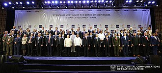 Asian Development Bank - President Rodrigo Duterte pose for a photo with ADB President Takehiko Nakao and other officials of ADB during the 51st ADB Annual Meeting in Ortigas Center, Mandaluyong City, Philippines on May 5, 2018.