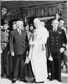 President Truman with Father L. Curtis Tiernan, Chief Chaplain of the United States Army Forces of the European... - NARA - 198683.tif