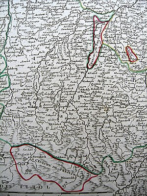 Prince-Bishopric of Freising - The Bishopric's three western enclaves: Freising-Isserain, Burgrain and Werdenfels.