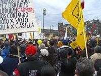 Protestas poselectorales de 2006 en el Zócalo de la capital mexicana.