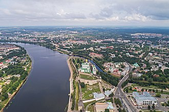 Pskov - Aerial view of Pskov near the Kremlin