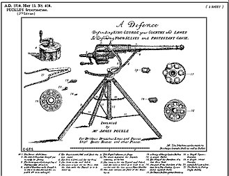 James Puckle - Flier for James Puckle's 1718 patent revolving firearm, shows various cylinders for use with round and square bullets.