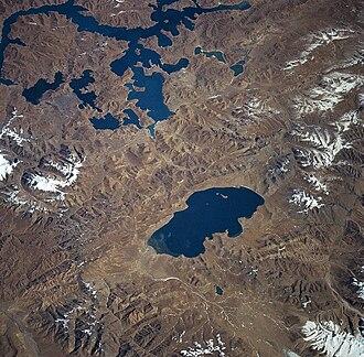 Shannan, Tibet - Lake Yamzho Yumco (at the top) and Lake Puma Yumco from space, November 1997