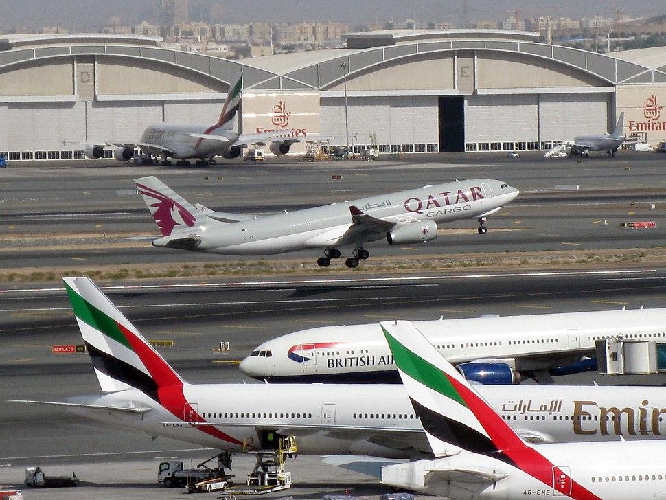 Qatar Airways A330-200F take off from DXB