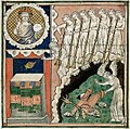 Queen Mary Apocalypse - BL Royal MS 19 B XV f. 13v - Seven trumpets.jpg