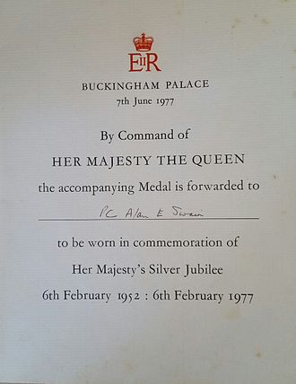 Queen Elizabeth II Silver Jubilee Medal - Queens Silver Jubilee Medal Certificate, as Awarded to PC. Alan E Swain.