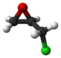 Ball-and-stick model of the epichlorohydrin molecule