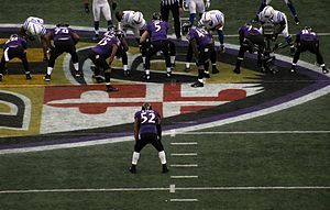 2012 Baltimore Ravens season - Ray Lewis lines up in the backfield for the final play of the Ravens' 24–9 victory over the Indianapolis Colts in the Wildcard Round of the 2012–2013 NFL Playoffs.  This would be Lewis' final play in Baltimore.