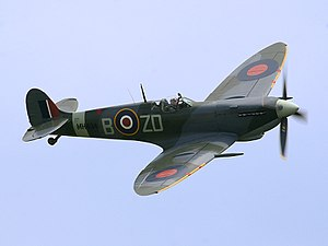 Supermarine Spitfire - Spitfire LF Mk IX, MH434 being flown by Ray Hanna in 2005. This aircraft shot down a Focke-Wulf Fw 190 in 1943 while serving with No. 222 Squadron RAF.
