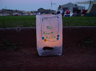 Relay For Life - Close-up of a luminaria placed at a Relay for Life.