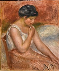 Seated Girl in striped Skirt