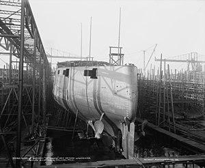 Russian battleship Retvizan - Retvizan under construction in Philadelphia, October 1900.
