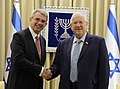Reuven Rivlin receives the credential of the new ambassador from Italy, October 2017 (3815).jpg