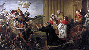 Battle of Tewkesbury - Painting by Richard Burchett, entitled Sanctuary, or Edward IV Withheld by Ecclesiastics from Pursuing Lancastrian Fugitives into a Church, 1867, Guildhall Art Gallery