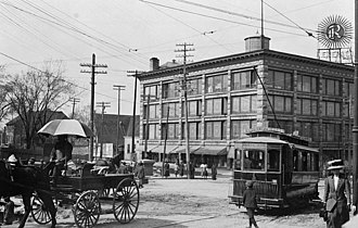 Moses Chamberlain Edey - Daly Building ca. 1912, Rideau Street with tram streetcar.  This building was demolished in 1991-1992 accompanied by a huge amount of publicity, controversy and criticism.