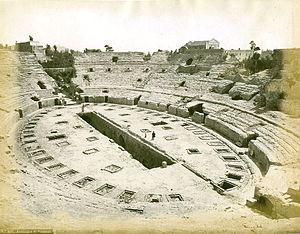 Flavian Amphitheater (Pozzuoli) - A late 19th-century photo of the Flavian Amphitheater.