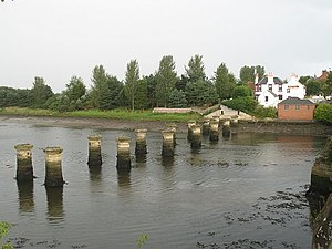 The St. Andrews Railway - Dismantled viaduct over the River Eden. This photograph was from a similar position to the first photograph)