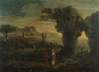 Rocky landscape with three travellers